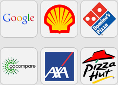 Google,Shell,Dominos,Go Compare,AXA,Pizza Hut