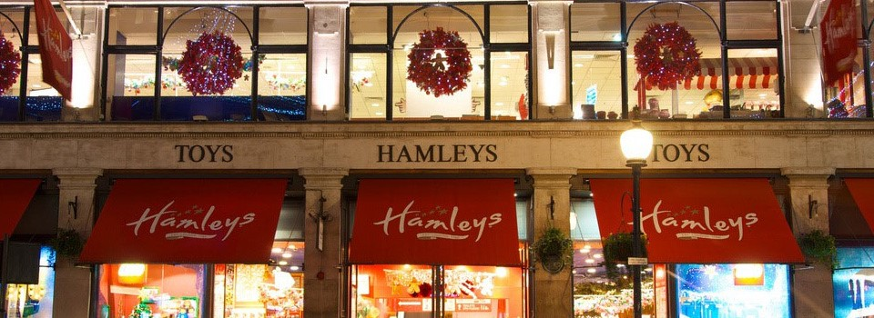 Photograph of Hamley's at Christmas to show the power of SMS at Christmas