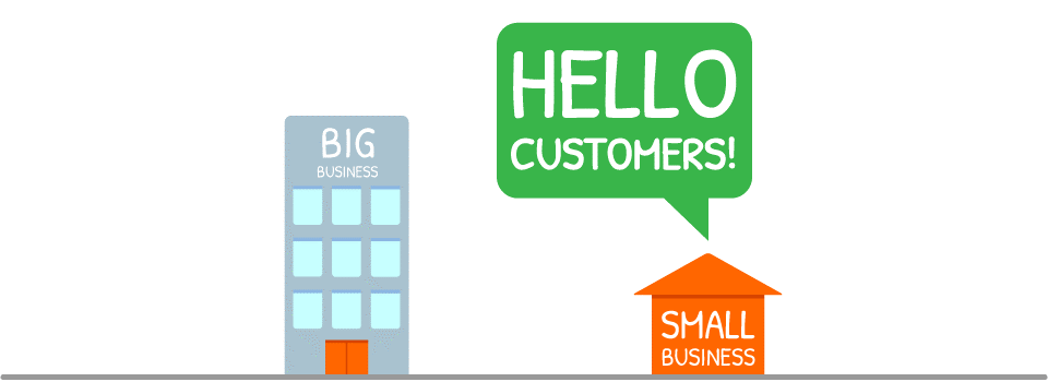 Cartoon of a small business reaching more customers than big business by using SMS