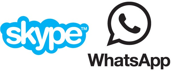 Skype logo and WhatsApp logo for IM apps taking over SMS