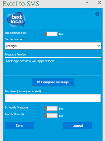 Send Text Messages from Excel Using Textlocal
